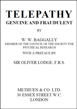 BAGGALLY – Telepathy Genuine and Fraudulent
