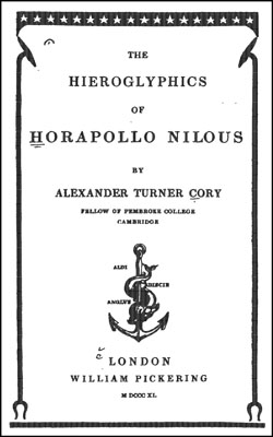CORY - Hieroglyphics of Horapollo Nilous