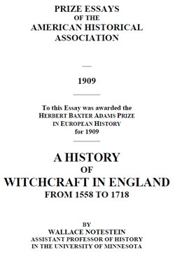 NOTESTEIN – History of Witchcraft in England