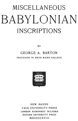BARTON-Babylonian Inscriptions