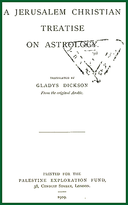 DICKSON - A Jerusalem Christian Treatise on Astrology