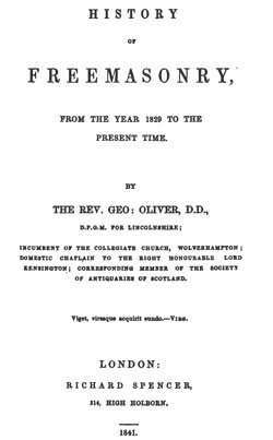G.OLIVER History of Freemasonry from 1829 on